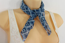 Women Fashion Blue Small Neck Scarf Fabric Geometric Square Print Pocket Square