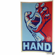 "SANTA CRUZ ""Screaming Hand - Yes Hand "" Skateboard Sticker BLUE/RED Old Skool"