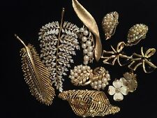 LOT Vintage Trifari Crown Boucher  Kramer AB  K.J.L. earrings  brooch