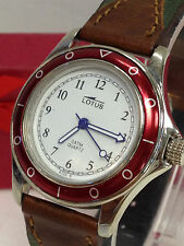 WOMENS LOTUS  RED BEZEL SILVER WATCH  BROWN LEATHER STRAP NEW OLD STOCK GIFT BOX