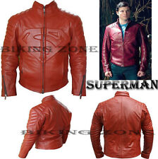 SUPERMAN STYLE (Clarke Kent - Smallville) MENS RED FASHION LEATHER JACKET