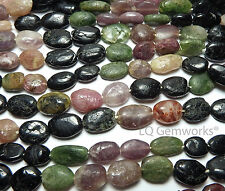 "14"" TOURMALINE Pink Green Black 10-14mm Oval Beads NATURAL /o2"