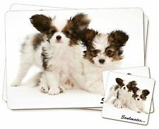 Papillon Puppy Dog 'Soulmates' Twin 2x Placemats+2x Coasters Set in G, SOUL-44PC