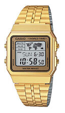 Casio A500WGA-9 Men's Retro Gold Tone World Time Alarm Chronograph Digital Watch