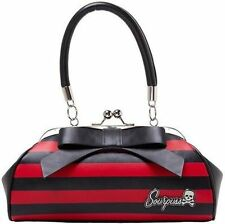 Sourpuss Floozy Purse Red / Blk Stripe Punk Goth Tattoo 50S Retro Handbag
