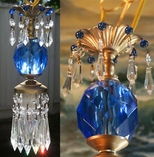 "1 Vintage Lucite Sapphire Blue lamp chandelier crystal Beaded prisms 30"" cord"