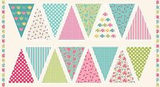 Tea Party Bunting Panel Cotton fabric Makower Size 110cm x 60cm larger available