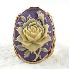 Cream Rose Purple Cameo Ring 14k Rolled Gold Jewelry Size Selectable Resin