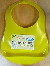 Beautiful Beginnings Plastic Bib Hygenic Wipe Food Catcher Clean Baby Yellow
