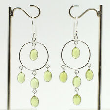 Long Dangles Earrings 925 Solid Sterling Silver Jewellery Real PERIDOT Gemstone