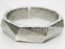 Sz 12/ Y GIBEON IRON NICKEL RHOMBUS CUT METEORITE 5.5MM WIDE BAND RING