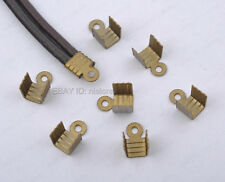 100Pcs bronze plated Chain End Clasp Crimp Cord Connector Close Ribbon Necklace