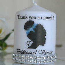 BRIDESMAID thank you gift / candle  card flower girl / maid of honour