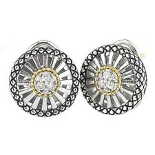 Andrea Candela 18k Gold Silver Twisted Cable Diamond Round Earrings ACE321/27
