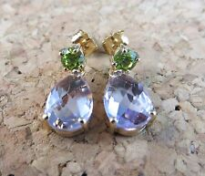 New Genuine 4.62 ctw Rose De France Amethyst & Peridot Sterling Silver Earrings