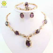 Gold Plated Rhinestone Purple Amethyst Necklace Set African Women Jewellery Sets