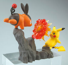 Pokemon Pikachu Vs Tepig Action Figure Diorama Licensed Japan Toy Black White
