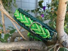 "Paracord Dog Collar-Green/Neon Lime green Camo 13""-18"""