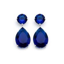 Large CZ Earrings Drop Down Blue Sapphire Pear Shape .925 Sterling Silver