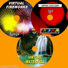 VIRTUAL WATERFALL LAVA LAMP & FIREWORKS 3 GREAT DVD VIDEOs FOR PLASMA/LED TV NEW
