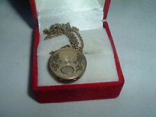 VINTAGE GOLD PLATED LADIES LOCKET WITH SIGNET ON FINE CHAIN IN GIFT BOX