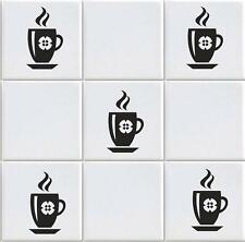 COFFEE CUP X 15 VINYL TILE TRANSFERS STICKER DECAL FOR KITCHEN (vd10)