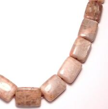 "16"" Shiny NATURAL Sunstone Flat Rectangle ~22 Beads 13x18mm K4511"