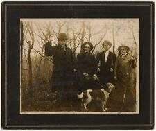 HUNTING PARTY WITH 2 HEADED DOG OLD RIFLE VINTAGE PHOTO