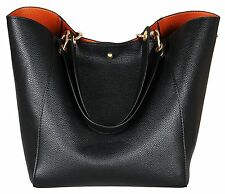 SQLP Women Ladies Leather Tote Bag Handbag Shoulder Bag Black