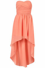 New TOPSHOP mullet hem chiffon bandeau dress by Rare UK 10 in Coral