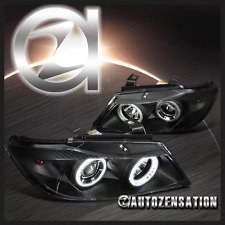 06-08 BMW E90 3-Series 4Dr Sedan Black Dual Halo Projector Headlights