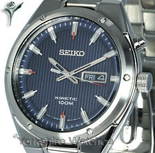New SEIKO KINETIC BLUE TEXTURE FACE DAY DATE & STAINLESS STEEL BRACELET SMY149P1