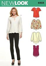 NEW LOOK SEWING PATTERN MISSES' BLOUSE SLEEVE & LENGTH VARIATION   8 - 20 6303