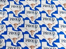 BTY YARDS MODA TEXAS PROUD BLUE LONGHORN FABRIC  STATE MAP 11283 15 NEW ON BOLT