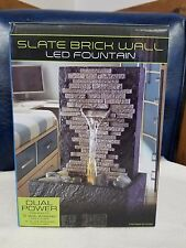 Water Fountain SLATE BRICK WALL Calming Indoor Feature LED Home Decor NEW OS