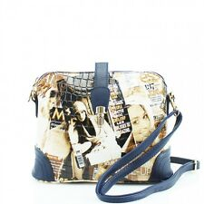 New Women Croc Patent Vintage Paris Magazine Floral Print Ladies Crossbody Bag
