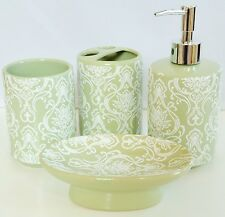 NEW 4 PC SET GREEN+WHITE DESIGN+SILVER SOAP DISPENSER+DISH+TUMBLER+TOOTHBRUSH