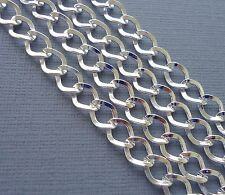6.56 Ft Silver Plated Findings Curb Link Chain  7x8 mm for Jewelry making  DIY