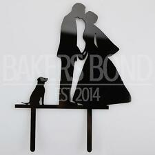 Bride Groom & Dog Black Acrylic Wedding Day Cake Topper Silhouette