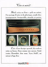 PUBLICITE ADVERTISING 064  1988  SWATCH  collection montre CUIR & METAL