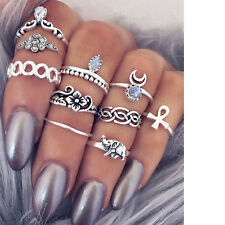 ETHNIC BOHO FESTIVAL BEACH SET 10 SILVER TONE KNUCKLE RINGS ASSORTED UK SELLER
