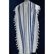 """Jewish Tallit Synagogue Prayer Shawl Talit Tallis Blue&Silver 47x67"""" Adult #50 M"""
