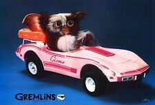 "MOVIE POSTER~~Gremlins Gizmo Driving Pink Barbie Corvette Original 1984 22x32""~~"