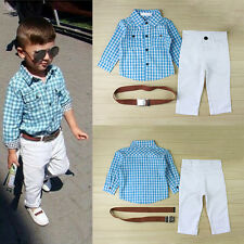 Toddler Baby Boys Kids Gentleman Shirts Tops Suspender Jeans Pants Outfits Suits