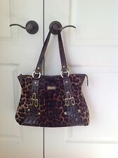 Leopard Pony Hair & Leather Handbag Tote / satchel From Italy Marco Buggiani