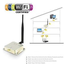 8W 2.4Ghz 802.11n b/g Wifi Wireless Amplifier Router Signal Booster + antenna