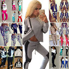 Womens 2Pcs Tracksuit Hoodies Sweatshirt Top & Pant Sets Sport Wear Gymwear Suit