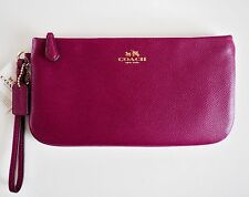NWT COACH 65555 *FUCHSIA* CROSSGRAIN LEATHER LARGE WRISTLET  GIFT REC'T INCLUDED