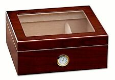 Cedar Cigar Humidor Box, Cabinet Hygrometer Humidifier, Chalet Cherry Glass Top