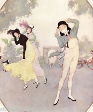Dulac FASHIONABLE Young Girls on WINDY DAY Picture  MATTED 1913 Picture